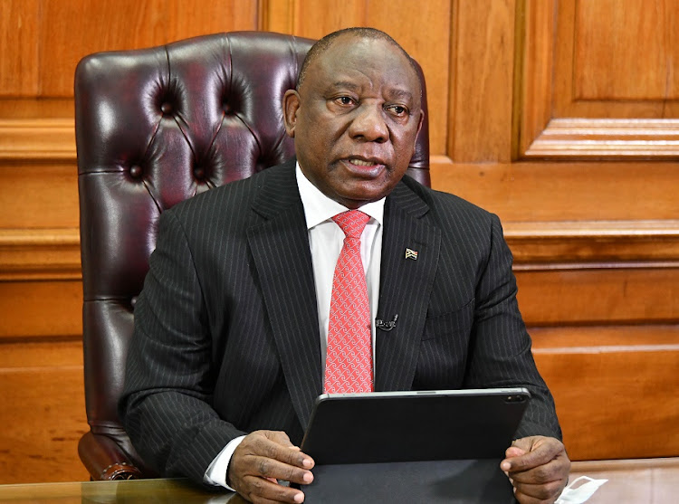 President Cyril Ramaphosa addressing the nation on Thursday evening at the Union Buildings, Preto​ria. Picture: Kopano Tlape/GCIS