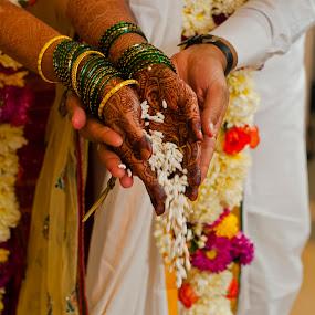 by Sudheer Hegde - Wedding Ceremony ( groom.colors, wedding, 50mm, bride, marriage, flowers, ceremony, nikon )