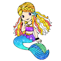 Mermaid glitter color by number-Paint by Number icon