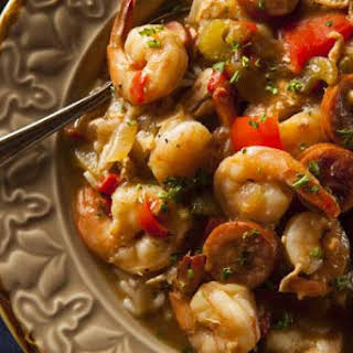 Shrimp and Sausage Gumbo with Rice.