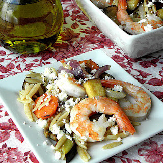 Greek Style Shrimp Whole Wheat Orzo Salad