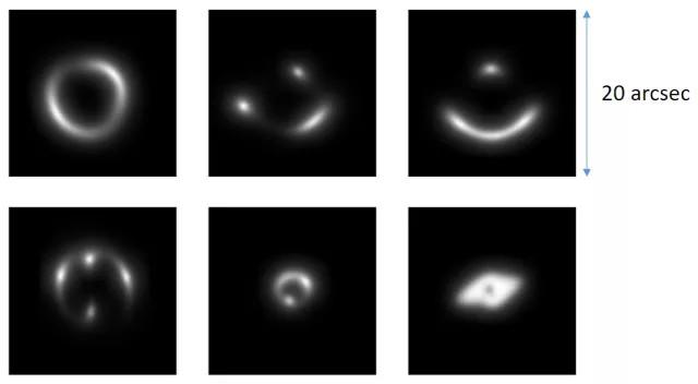 Hình ảnh mà các nhà thiên văn sử dụng để luyện cho trí tuệ nhân tạo cách nhận diện thấu kính hấp dẫn trong thực tế.
