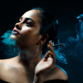 Dark Night with Smokey Eyes by Baddy Ribs - Digital Art People ( smokey eyes, smoke photography, sexy, smoke, hot, girl, dark background, night photography )