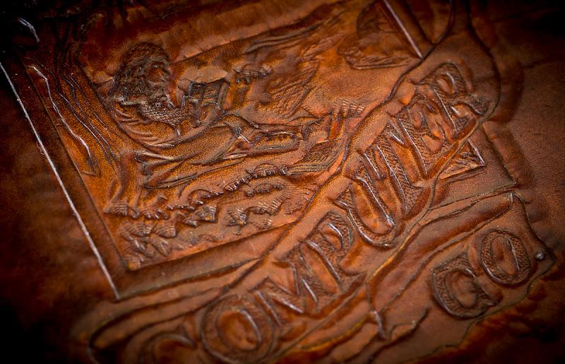 Photo: Close-Up of the hand carved logowww.highonglue.com