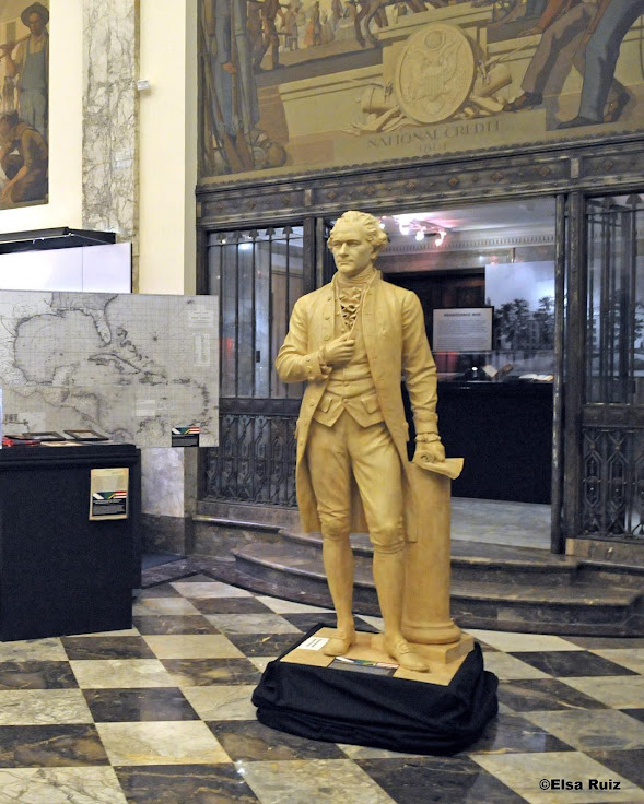 Hamilton stands in the lobby of The Bank of New York. Photo: Museum of American Finance.