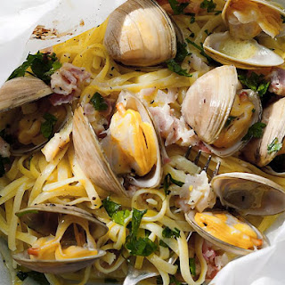 Linguine with Clams en Papillote.