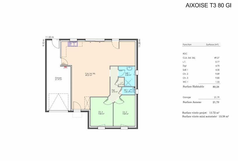 Vente Terrain + Maison - Terrain : 834m² - Maison : 80m² à Bessay (85320)