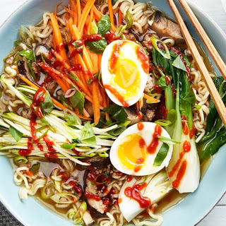 Quick Pork Ramen With Carrots, Zucchini, and Bok Choy.