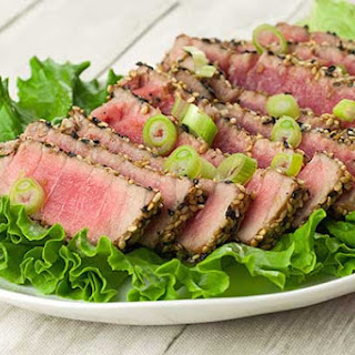 Sesame-Crusted Tuna Steaks.
