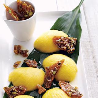 Mango with Pistachio and Coconut Praline.