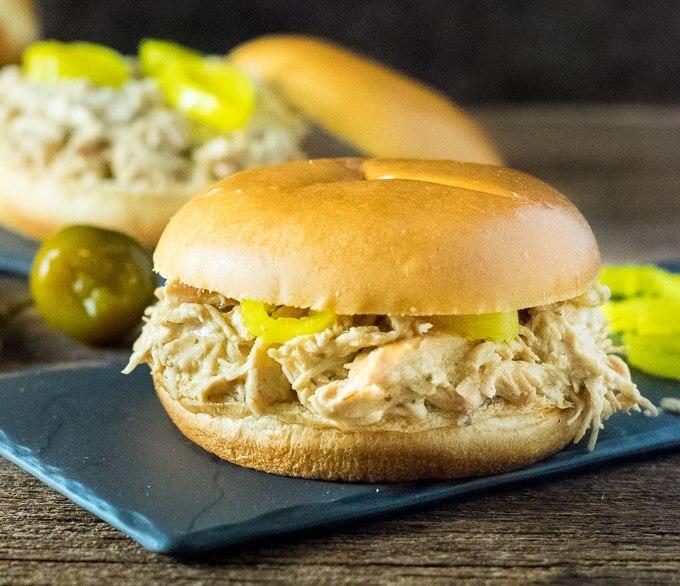 Crock Pot Mississippi Crack Chicken Sandwiches Recipe