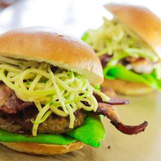 BBQ Pork Burgers with Bacon and Apple Slaw.