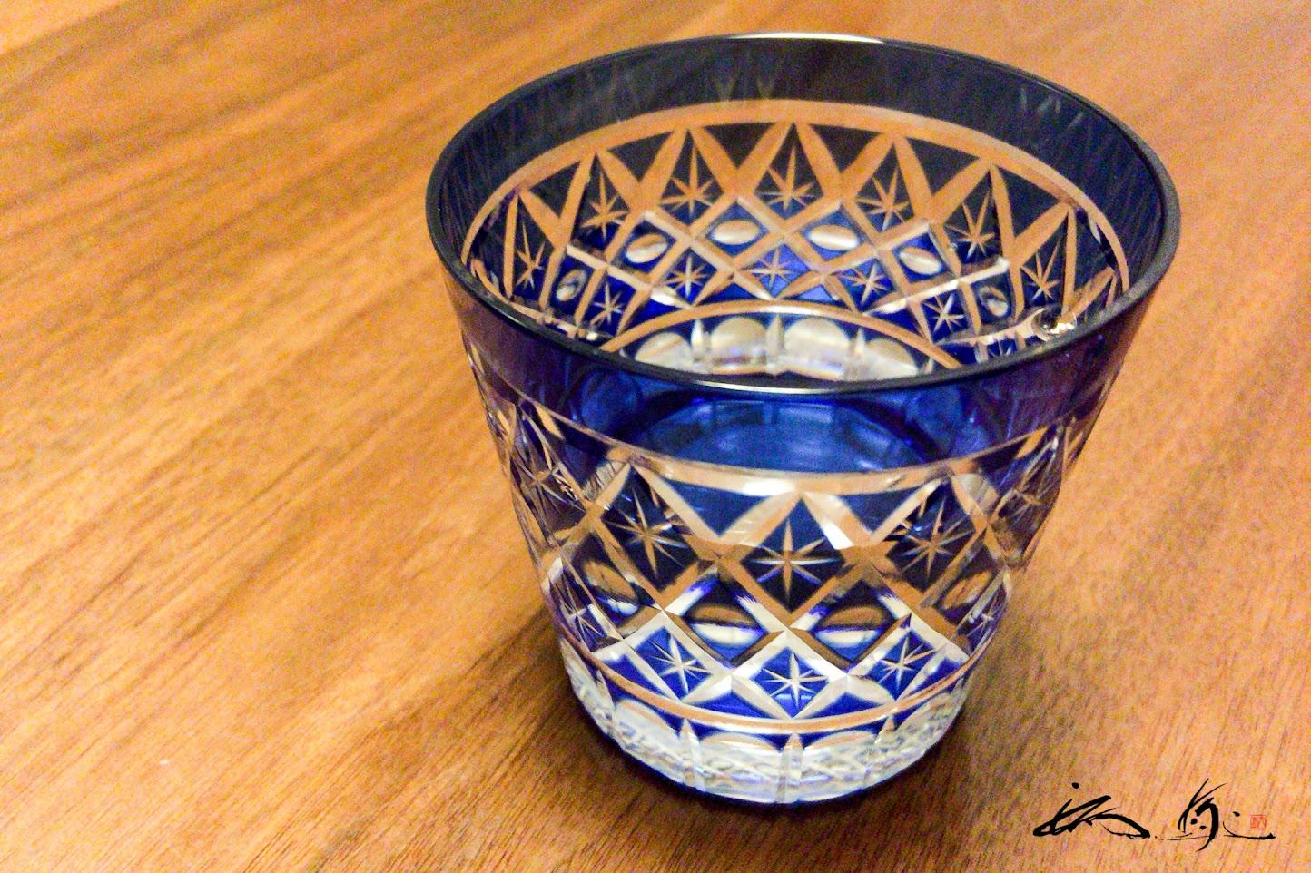 瑠璃色の江戸切子グラス