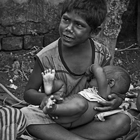 Brother's Care by Ritwik Ray - Black & White Street & Candid ( street )
