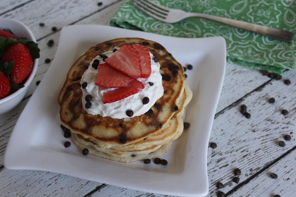Top the pancakes with butter, syrup, whipped cream (or any combination of your choice)...