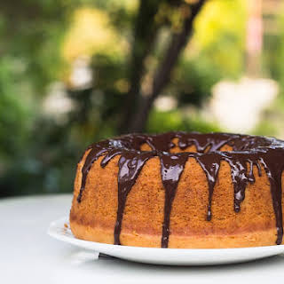Eggless Vanilla Bundt Cake with Chocolate Glaze.