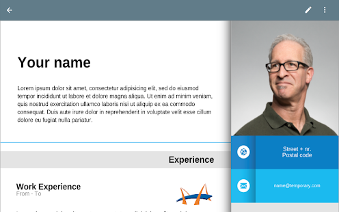 Resume App - náhled