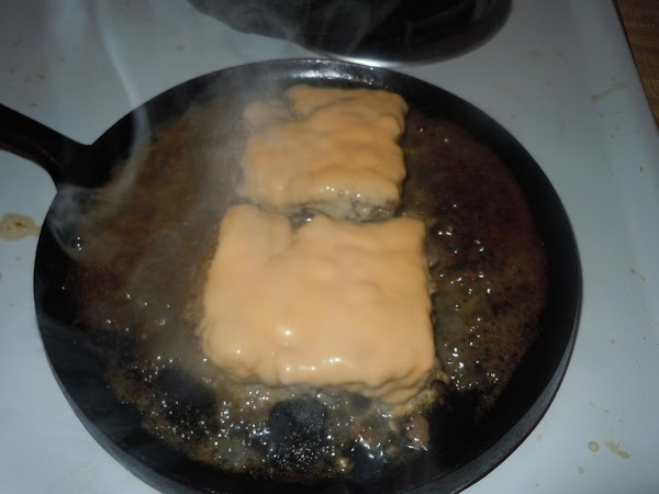 Take press off and place cheese on top.