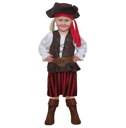 Barndräkt, randig piratklänning 122/128 cl