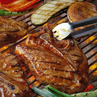 "Texas ""T-Bone"" Pork Chop with Red Chile-Lone Star BBQ Sauce and Fajita Vegetables Recipe"