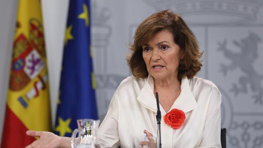 Carmen Calvo (en una imagen de archivo) ha presidido el consejo de ministros extraordinario.