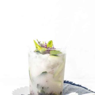 Blueberry Lilac Sake Spritzer.