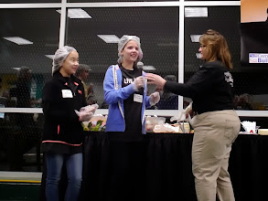 Photo: Kylee speaking to the volunteers at the United Way's Hunger Heroes Project during National Volunteer Week. April 23, 2013
