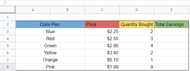 Shows the template we want to apply for formula to. There are different color pens, with different prices and quantities bought.