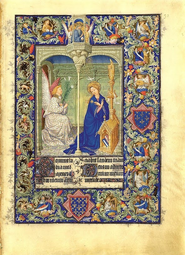 The Limbourg Brother's Annunciation from the Belles Book of Hours. Annunciation. Created for Jean de France the Duc of Berry.
