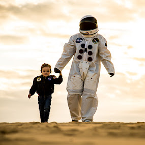 Stranded by Kelly Hulme - People Family ( mars, sunset, costume, space man, portrait )