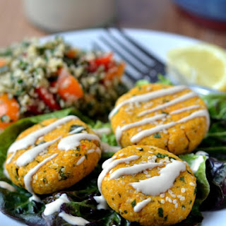 Raw Carrot Falafel, Hemp-Seed Tabouli with Yellow Tomatoes and Mint