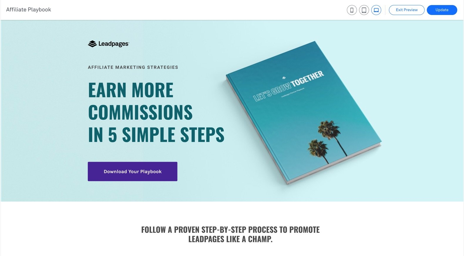 Landing page example Lead generation website
