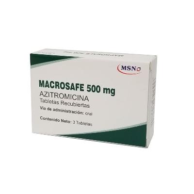 Azitromicina Macrosafe 500mg x 3 Tabletas Recubiertas