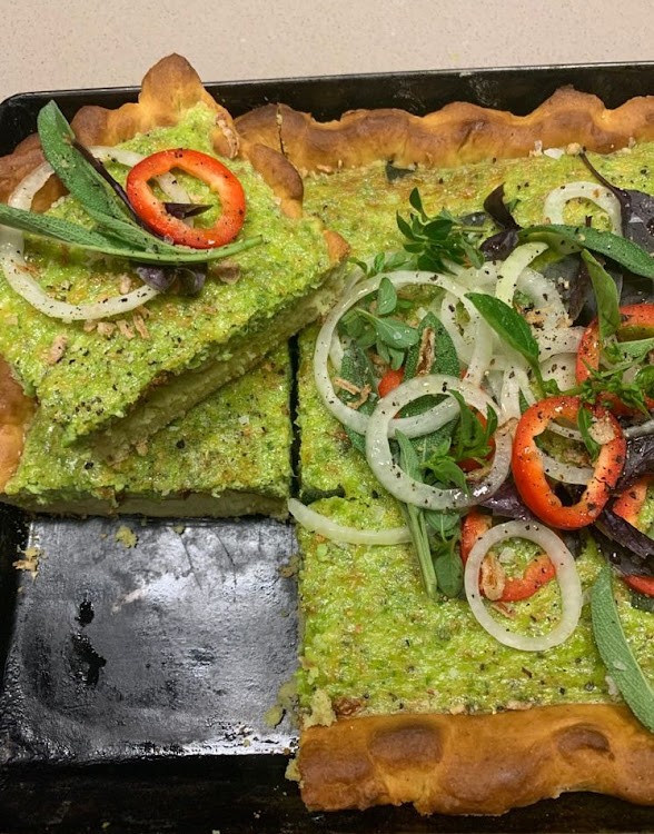 Our food editor's take on Jamie Oliver's pea quiche with avocado pastry.