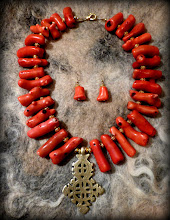 Photo: # 207 SEA PRINCESS ~ МОРСЬКА ЦАРІВНА  - brass Coptic cross, coral, gold plate   $135/set SOLD