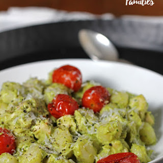Creamy Avocado Pesto Gnocchi with Roasted Tomatoes
