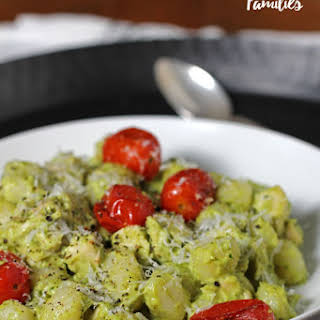 Creamy Avocado Pesto Gnocchi with Roasted Tomatoes.