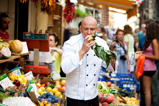 Seadream-chef-veg.jpg - Find the freshest fruits and vegetables when you go shopping with the chef on a SeaDream cruise.