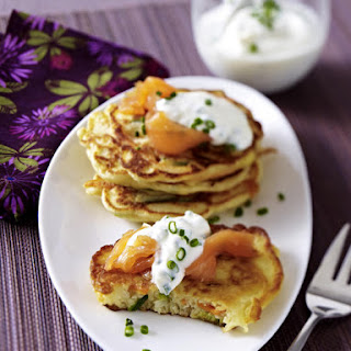 Vegetable Pancakes with Smoked Salmon