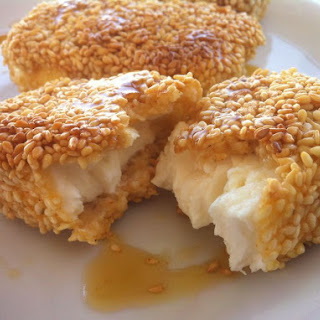 Fried Feta with Honey and Sesame Seeds.