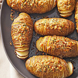 Hasselback Potatoes with Seasoned Breadcrumbs.