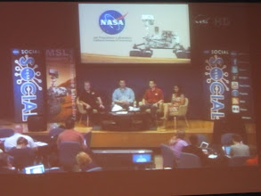 Photo: From NASA Ames Research Center, we piped into the NASA TV feed for the NASA Social panel at the Jet Propulsion Laboratory, NASAs lead center for this mission.