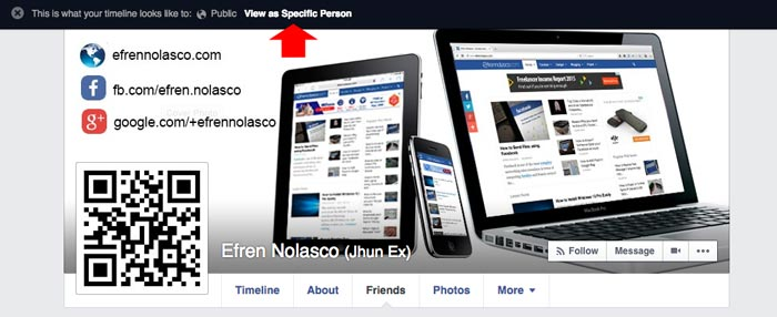View Facebook Profile as different person step 2