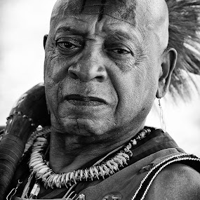 The Stern Native by Christian Wicklein - People Portraits of Men ( black and white, indian, portrait, man, native american,  )