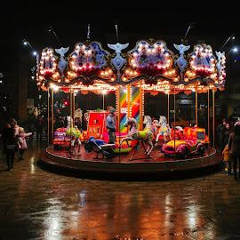 children city by Gabi Radoi - Instagram & Mobile Android ( night photography, children, happiness, light, city )