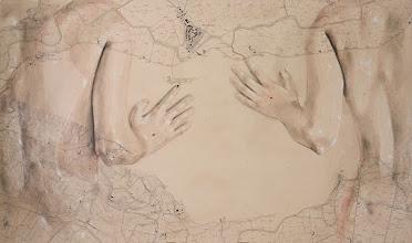 """Photo: """"ARBITRIO""""  100x60 - 2016 © tutti i diritti riservati china, carboncino pastelli, acquerello, olio e corallo su vecchia mappa idrografica degli anni '70 applicata su forex"""
