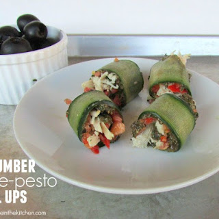 Cucumber Olive-Pesto Chicken Roll Ups