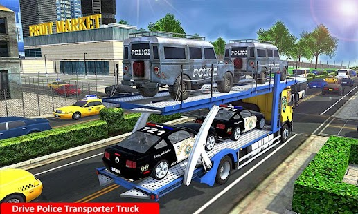 Police Airplane Cars Transporter: Haulers Driving - náhled
