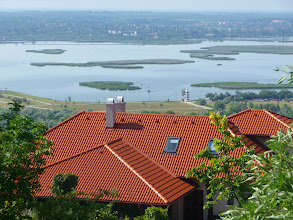 Photo: View over Lake Velence from Bence Hegye in Velence, Hungary. Reed islands, nature reserve and row track.