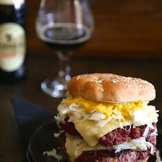 St. Paddy's Corned Beef Burgers With Irish Cheddar Cheese.